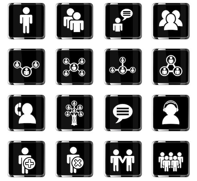 Community-websymbole für das design der benutzeroberfläche