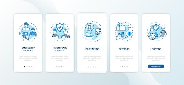 Community-zusammenarbeit beim onboarding der mobilen app-seitenseite mit konzepten. humanitäre hilfe. anleitung zur community-unterstützung in 5 schritten mit grafischen anweisungen. ui-vektorvorlage mit rgb-farbabbildungen