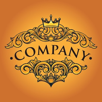 Company bussines vintage crown verzierte vektorillustrationen für ihre arbeit logo, maskottchen-waren-t-shirt, aufkleber und etikettendesigns, poster, grußkarten, die werbung für unternehmen oder marken machen.