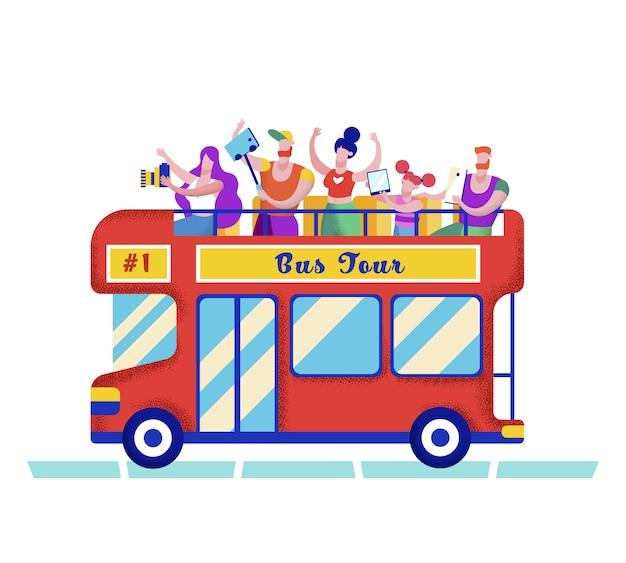 Company riding zwei-deck-tourbus für städtetrip