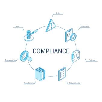 Compliance isometrisches konzept. verbundene linie 3d symbole. integriertes kreis-infografik-design-system. symbole für regeln, standards, gesetze und anforderungen
