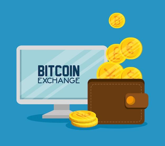 Computer-bitcoin-bildschirm und brieftasche mit münzen