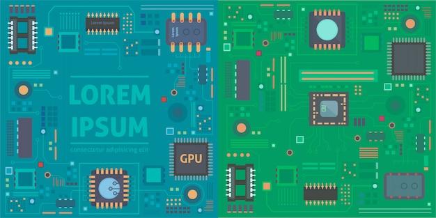 Computer-chip-technologie-prozessorschaltung und computer-motherboard-informationssystem-chipvektor.