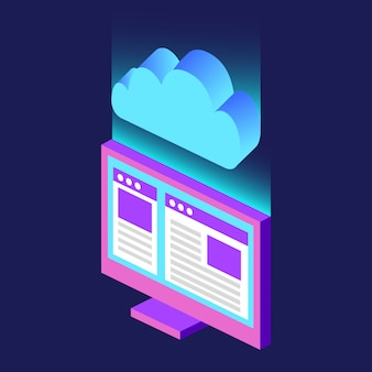 Computer cloud computing-technologie isometrisch verschwommen