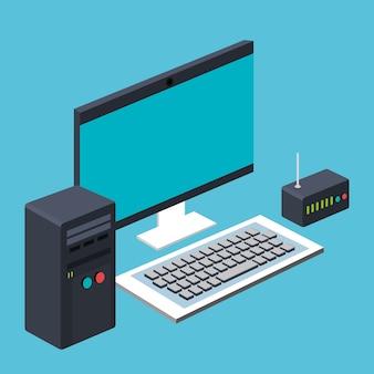Computer-cpu und tastatur und router wireless