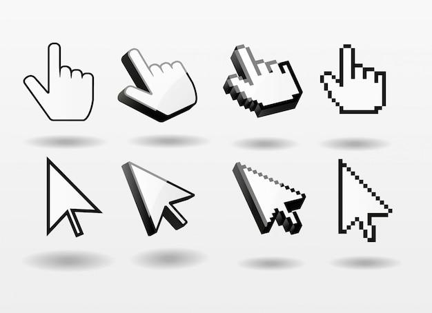 Computer-cursorikonen-fingerpfeilpixel 3d des mauszeigers gesetztes
