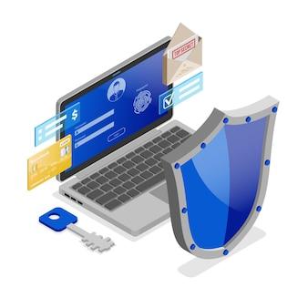 Computer cyber internet persönliche datensicherheit Premium Vektoren