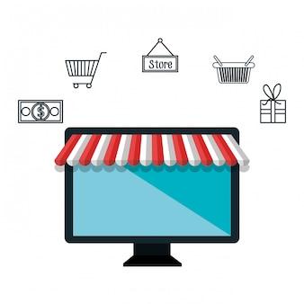 Computer e-commerce-kaufmarkt isoliert