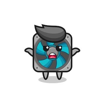 Computer-fan-maskottchen-charakter, der sagt, ich weiß es nicht, süßes stildesign für t-shirt, aufkleber, logo-element