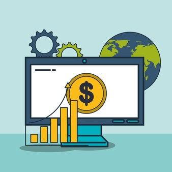 Computer finanz geld welt digital marketing