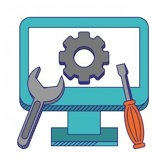 Computer für technischen support mit blauen linien der werkzeuge