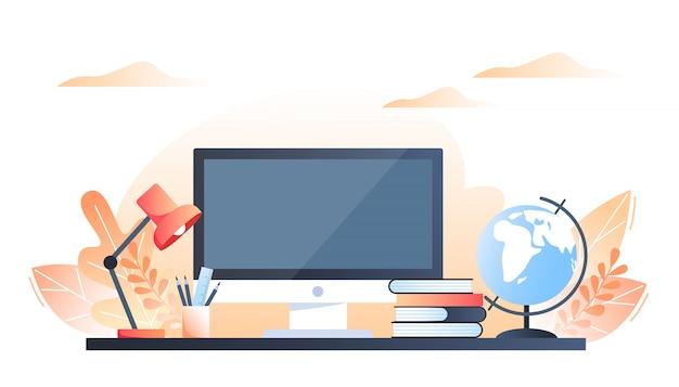 Computer, globus, bücher, lampe auf dem schreibtisch. herbst innenraum arbeitsplatzgestaltung. flache illustration des vektors