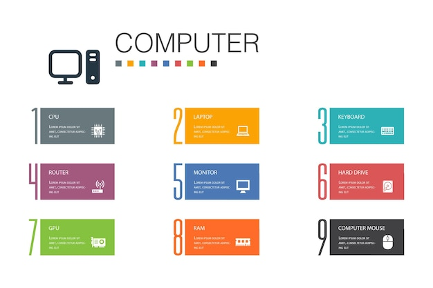 Computer infografik 10 optionszeilenkonzept.cpu, laptop, tastatur, einfache symbole der festplatte