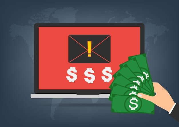 Computer laptop bekam erpressung lösegeld letzter anfrage geld.