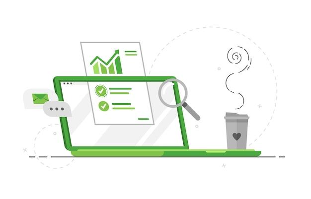 Computer-laptop mit datenanalyse für das marketing
