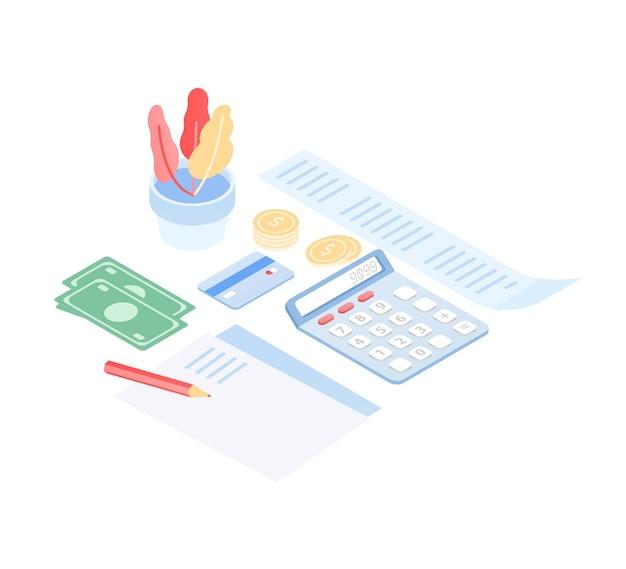 Computer mit anwendung für budgetplanung und -kontrolle, geld sparen, steuern und schulden auf dem bildschirm bezahlen und finanzdokumente auf dem schreibtisch liegen. moderne bunte isometrische illustration.