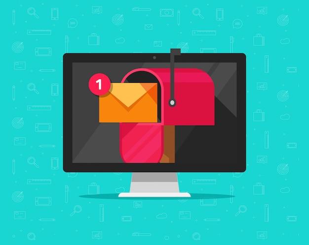 Computer mit briefkasten auf flachem karikaturdesign der schirmvektor-illustration