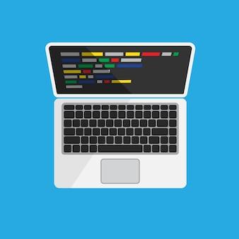 Computer mit code auf dem bildschirm auf weiß