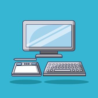 Computer mit digital-technologiegerät des tablettenbleistifts