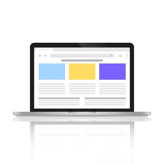 Computer mit einer abgebildeten site im internet auf dem bildschirm.