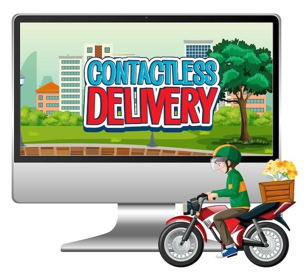 Computer mit fahrradmann oder kurier und kontaktlosem lieferlogo