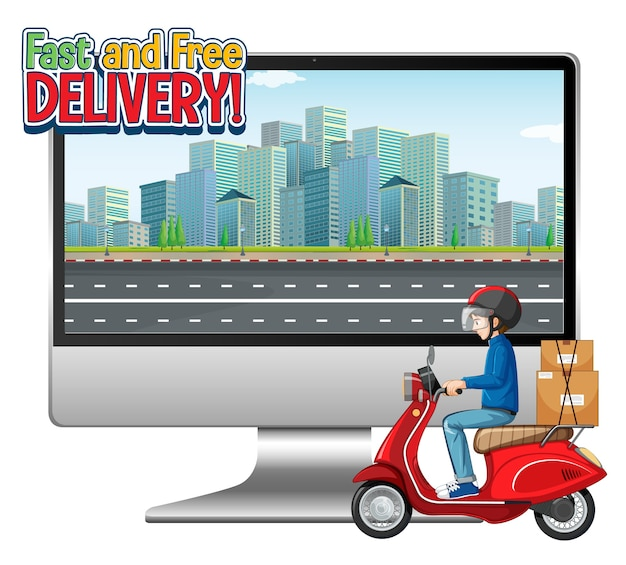 Computer mit fahrradmann oder kurier und schnellem und kostenlosem lieferlogo