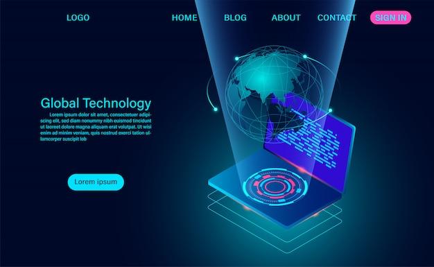 Computer mit globalem netzwerk. zielseite für internetverbindung und globales kommunikationskonzept