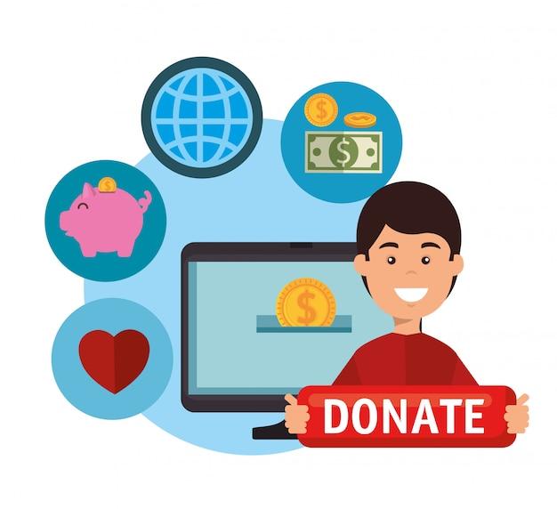 Computer mit online-spende für wohltätige zwecke