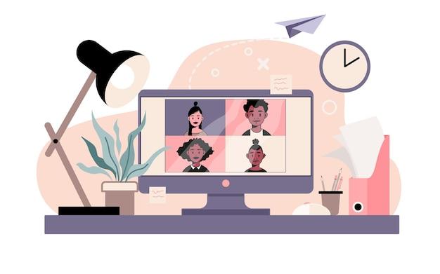 Computer mit personen, die per videoanruf, online-meeting, videokonferenz kommunizieren.