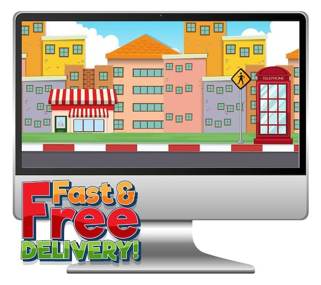 Computer mit schneller und kostenloser lieferung