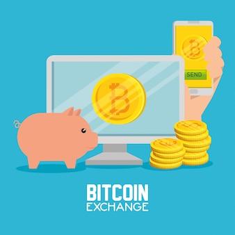 Computer mit smartphone-austausch-bitcoin-währung und -schwein