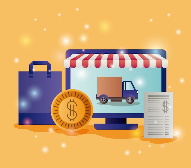 Computer mit sonnenschirm- und e-commerce-ikonen