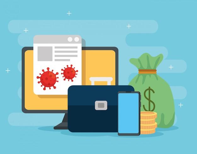 Computer mit symbolen der wirtschaftlichen auswirkungen von covid 2019