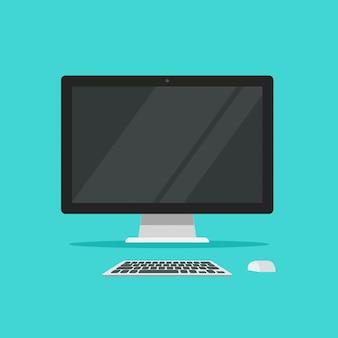 Computer mit tastatur auf arbeitstischillustration in der flachen karikaturart