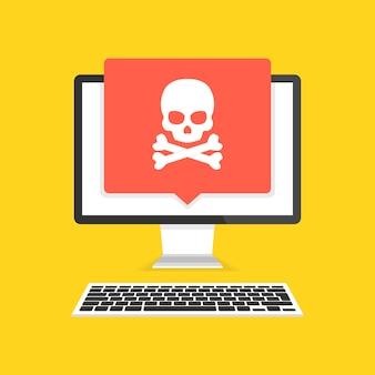 Computer mit totenkopf auf dem bildschirm