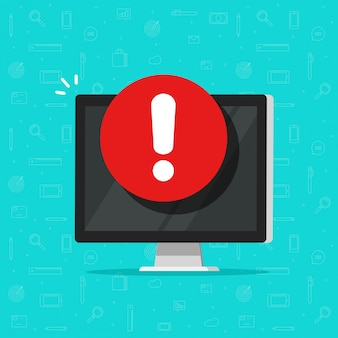 Computer mit warnungs- oder alarmzeichenikone, flache pc-anzeige mit ausrufezeichen, konzept der gefahr oder risiko