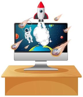 Computer mit weltraumszene