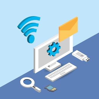 Computer mit wifi-netzwerk und e-mail-nachricht