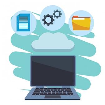 Computer mit wolke