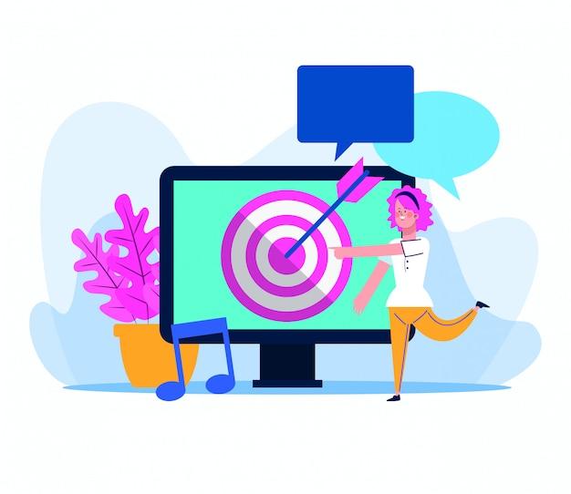 Computer mit zielikone und karikaturfrau auf weiß