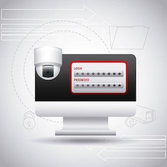 Computer monitor login passwort überwachungskamera