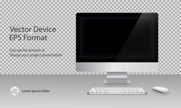Computer-monitor, tastatur und maus mit schwarzem bildschirm isoliert. kann für schablonenpräsentation und banner verwenden. gerätesatz. gadget mock up. vektor-illustration.