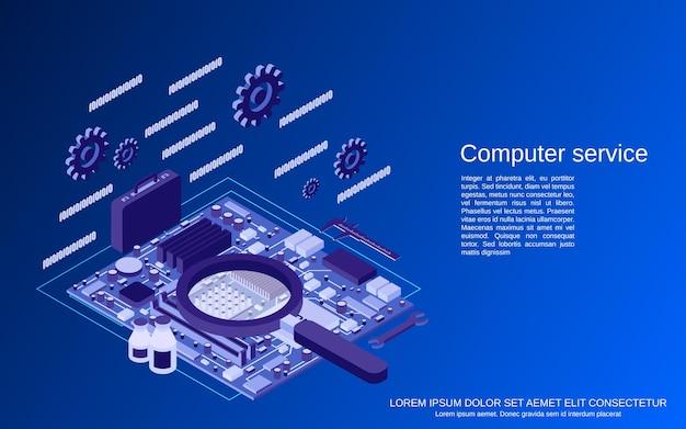 Computer-service-flache isometrische 3d-vektor-konzept-illustration