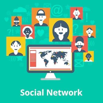 Computer-social media-netzwerkteilnehmeravataraelemente und symbolzusammensetzung entwerfen infographic diagrammkarte