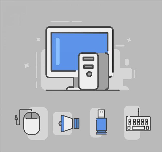 Computer-symbol, nämlich maus, lautsprecher, usb, tastatur. computer-vektor-illustration