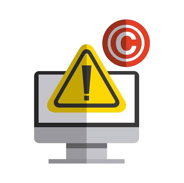Computer und c-symbol. urheberrecht design. vektorgrafik
