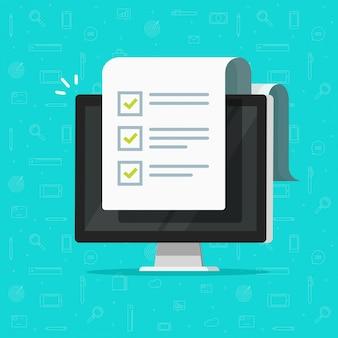 Computer und checkliste oder zur flachen karikatur der fo-liste