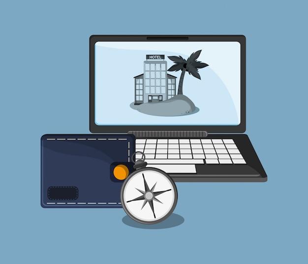 Computer und reise verwandte symbole