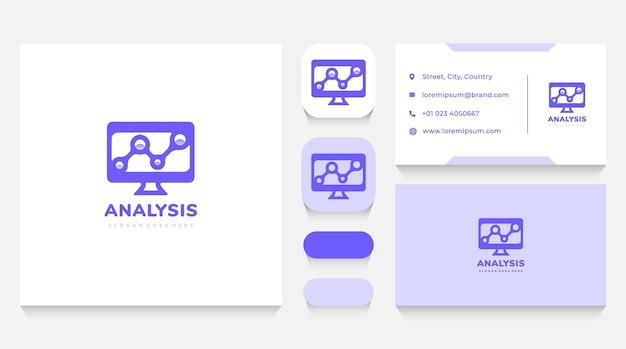 Computer- und technologiestatistik-logo-vorlage und visitenkarte