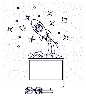 Computer und weltraumrakete